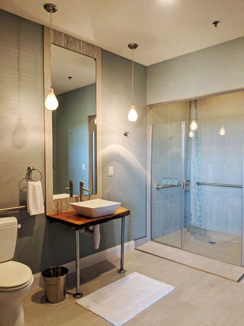 modern decor bathroom with glass shower doors and pendant lights