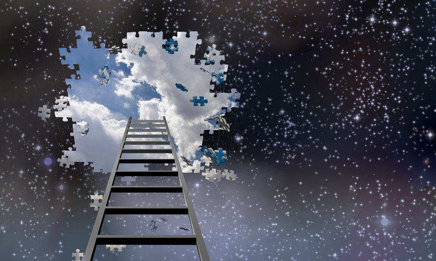 illustration of ladder leading up to sky - breaking through darkness to light - narrative therapy