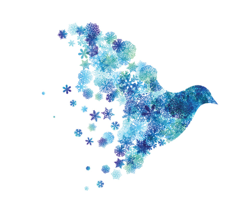 painting of blue dove made of snowflakes - holiday