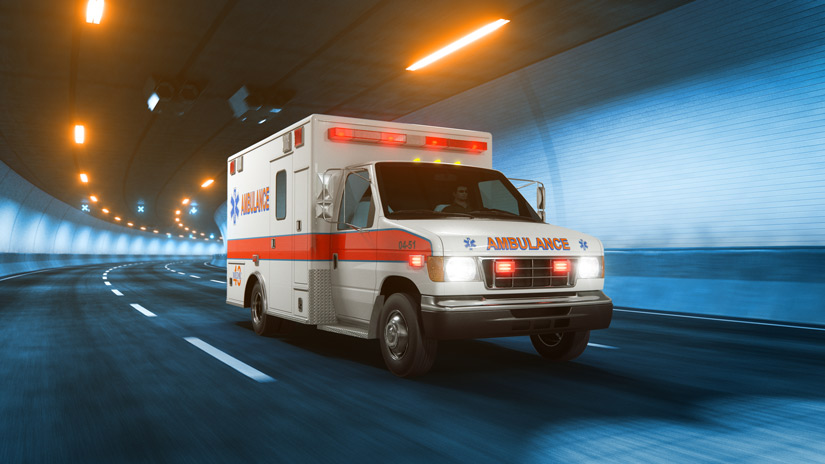 ambulance driving through city tunnel at night - overdoses