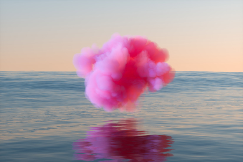 bright pink cloud hovering over ocean or lake water - the pink cloud