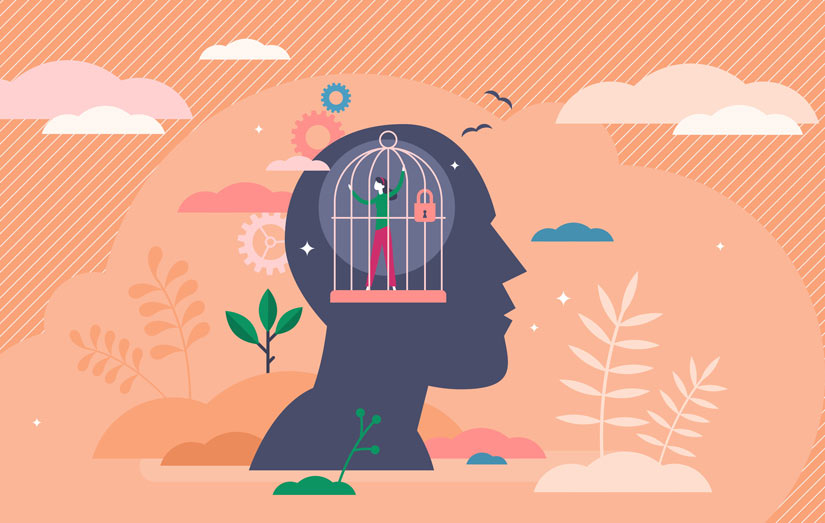 bright illustration - person in cage, inside of head silhouette - fear