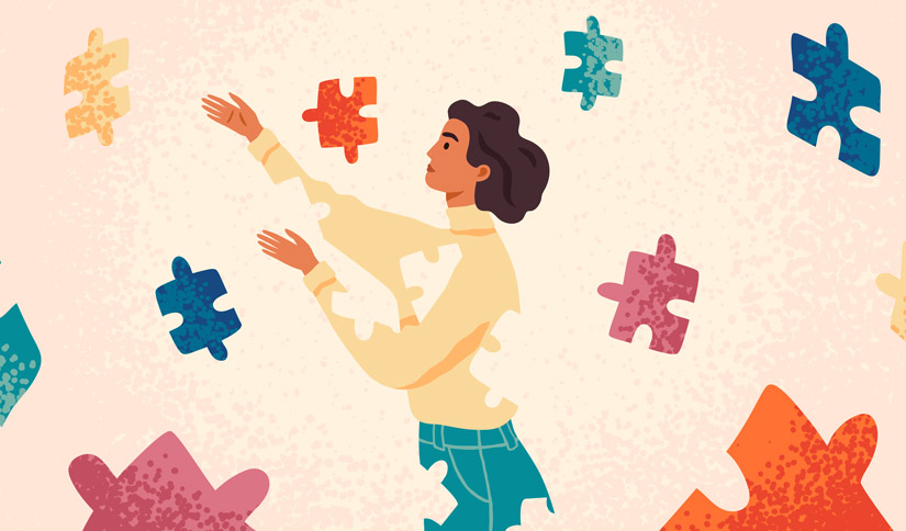 illustration of woman missing puzzle pieces that are outside of her - experiential therapy