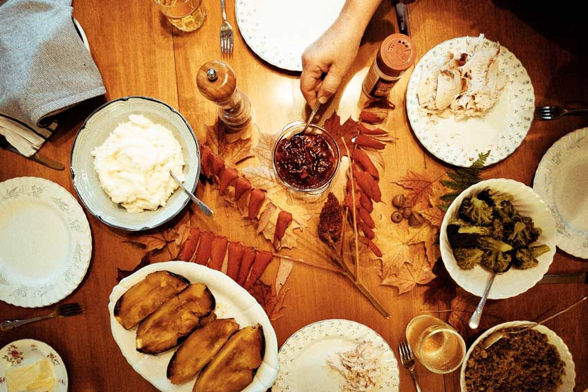 lovely Thanksgiving meal set out on table - holidays