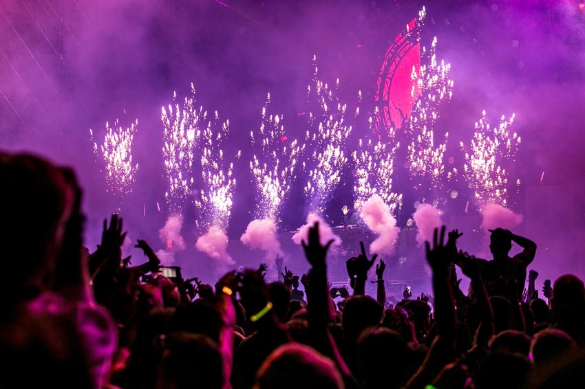 view from audience at rave or night club concert - club drugs